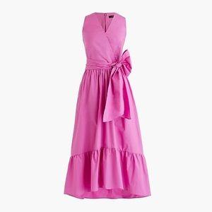 Sleeveless faux-wrap dress in cotton poplin